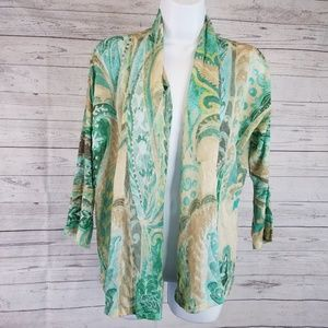 3/25Chicos Open Front Cardigan Sz Med Green Floral